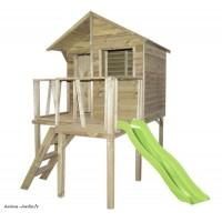Maisonnette pour enfant, en bois autoclave, Victor, avec toboggan, jeu, plein-air, Trigano, achat