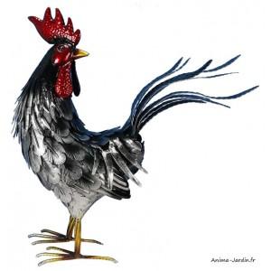 Coq, métal, argent, 48 cm, décoration de jardin, animal de la ferme, Riviera, achat