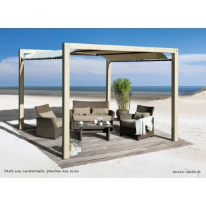 Oasis de jardin en bois avec toile imperméable, tonnelle, jardin, protection contre le soleil, achat