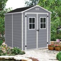 Abri en résine, Premium 86 DD, 3,75 m², gris et blanc, avec plancher, achat, pas cher