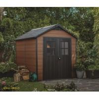 Abri en résine, Woodium 759, 5,7 m², aspect bois, avec plancher, abri de jardin, achat, pas cher