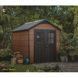 Abri en résine, Woodium 759, 5,7 m², aspect bois, abri de jardin, achat, pas cher