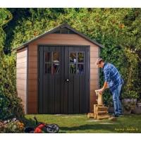Abri en résine, Woodium 757, 4,04 m², aspect bois, avec plancher, abri de jardin, achat, pas cher