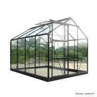 Serre de jardin en aluminium laqué, anthracite, 4,65 m², verre trempé, avec base, achat, pas cher