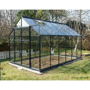 Serre de jardin en aluminium laqué, anthracite, 7,56 m², verre trempé, avec base, achat, pas cher