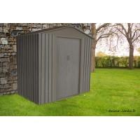 Petit abri de jardin en métal, 2,12 m², aspect bois vieilli, gris, rangement extérieur, achat, pas cher