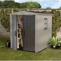 Abri de jardin en résine, Sydney 66, 2,95 m², marron et beige, avec plancher, achat, pas cher