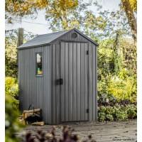 Abri de jardin en résine, Darwin 46, 1,9 m², gris, aspect bois, avec plancher, Keter, achat, pas cher