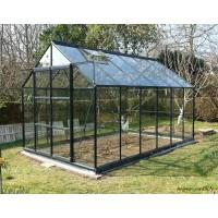 Serre de jardin en aluminium laqué, 128, gris, 8,88 m², verre trempé, avec base, achat, pas cher