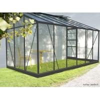 Serre de jardin adossé en aluminium laqué, Solarium, 9,6 m², anthracite, verre trempé, avec base, achat, pas cher