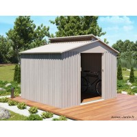 Abri de jardin en métal, 6,54 m², aspect bois vieilli, gris, rangement extérieur, achat, pas cher
