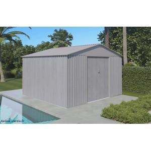 Abri de jardin en métal, 9,05 m², aspect bois vieilli, gris, rangement extérieur, achat, pas cher
