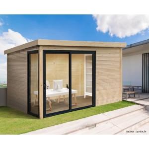 Abri de jardin en bois avec baies vitrées, Seda, 28 mm, 9 m², toit plat, Solid, pas cher