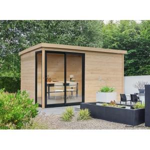 Abri de jardin en bois avec baies vitrées, Faro, 28 mm, 12 m², toit plat, Solid, achat, pas cher