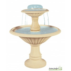 Fontaine Cascade en pierre reconstituée, 2 vasques, h 145cm, grandon, achat/vente