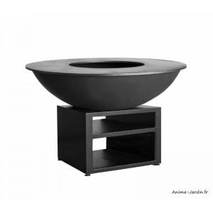 Braséro, Piatto XL Black, ø 130 cm, Quoco, acier peint, braséro 3 en 1, plancha, barbecue, Fargau, achat, pas cher