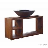Braséro, Tavolo Corten Large, ø 94 cm, avec meuble, aspect rouillé naturel, Piatto, Quoco, braséro 3 en 1, Fargau, achat