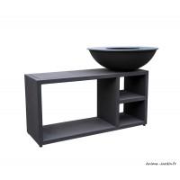 Braséro, Tavolo large noir, ø 94 cm, acier, avec meuble, Piatto, Quoco, braséro 3 en 1, Fargau, achat