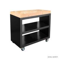 Plan de travail, Billot Pro, meuble pro avec roulettes, Noir, 150 cm, surface de préparation, Quoco, Fargau, achat