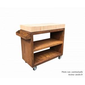 Plan de travail, Billot Pro, meuble pro avec roulettes, Corten, 150 cm, surface de préparation, Quoco, Fargau, achat