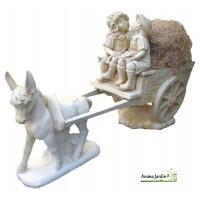 Statue en pierre reconstituée, calèche aux enfants, âne, achat/vente, décoration de jardin