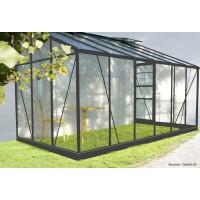 Serre de jardin adossé en aluminium laqué, Solarium 126, 7,22 m², anthracite, verre trempé, avec base, achat, pas cher