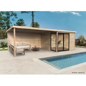 Abri de jardin en bois avec baies vitrées, Sagres, avec avancée, 28 mm, 9 m², toit plat, Solid, achat