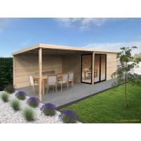 Abri de jardin en bois avec baies vitrées, Tavira, avec grande avancée, 28 mm, 12 m², toit plat, Solid, achat