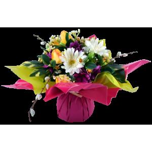 Bouquet Bulle Tulipe, Gerbera & Delphinium, H.34 cm, composition de fleurs, toussaint, rameaux, tergal, achat, pas cher