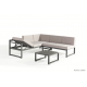 Salon de jardin en aluminium, gris, Relax, canapé d'angle, canapé modulable, achat, pas cher