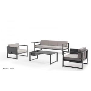Salon de jardin en aluminium, gris, Sun, salon d'extérieur, canapé, fauteuil, achat, pas cher