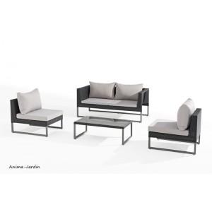 Salon de jardin, Clever, 4 places, noir et gris, salon d'extérieur, canapé, fauteuils, achat, pas cher
