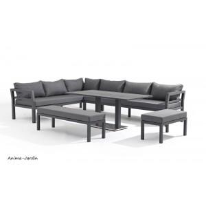 Salon de jardin, gris, Florida, 12 places, salon d'extérieur, canapé d'angle, table haute, fauteuils, achat, pas cher