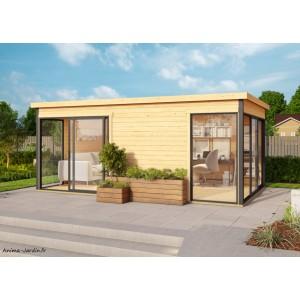 Abri de jardin en bois, 15 m², 44 mm, DOMEO 3 Plus, deux pièces, baie vitrée, épicéa, achat