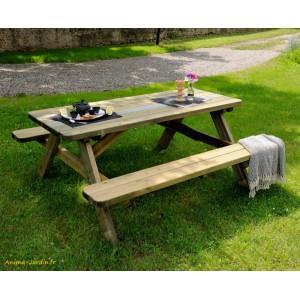 Table pique nique en bois traité autoclave, forestière,180 cm, Robuste, achat/vente pas cher
