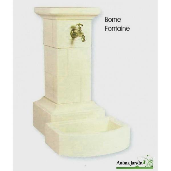 Fontaine Borne en pierre reconstituée 95 cm Grandon, achat ...