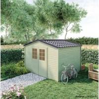 Abri de jardin en bois, Shelty+ 9 m², 28 mm, avec toit en acier galvanisé, rangement, Forest-Style, achat, pas cher