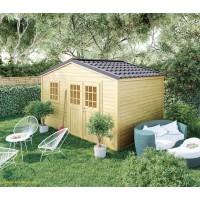Abri de jardin en bois, Shelty+ 11 m², 28 mm, avec toit en acier galvanisé, rangement, Forest-Style, achat, pas cher