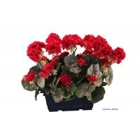 Jardinière de Géraniums artificiels, fleur artificielle, déco jardin, pas cher