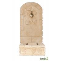 Fontaine murale en pierre reconstituée 92cm, décor Raisins, ton vieilli, achat/vente