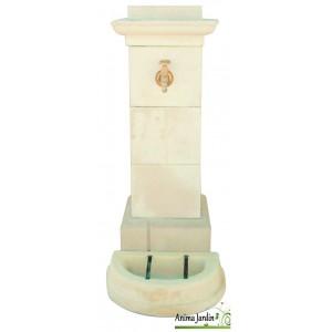 Fontaine de ville, borne, en pierre reconstituée 115cm de haut, ton vieilli, achat/vente