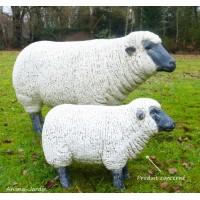 Brebis en fibre de verre, petit mouton blanc, tête noire, animal de la ferme, Jardin, achat, décoration jardin