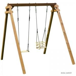 Portique en bois Ambre, traité autoclave classe 4, balançoire, siège pour bébé, Soulet, pas cher, achat