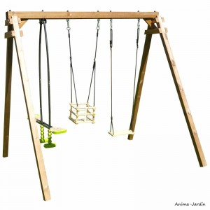 Portique en bois Pierre, balançoire, vis-à-vis, siège pour bébé, autoclave, Soulet, achat, pas cher