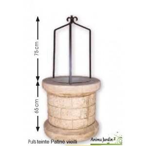 Puits en pierre reconstituée, vieilli, puits de jardin, Auvergnat, achat/vente