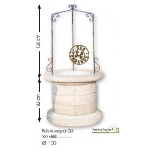 Puits en pierre reconstituée, puits de jardin 100 cm, Auvergnat, achat/vente