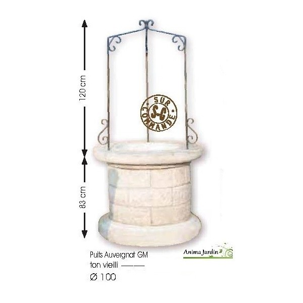 Puits en pierre reconstitu e puits de jardin 100 cm - Salon de jardin pierre reconstituee ...
