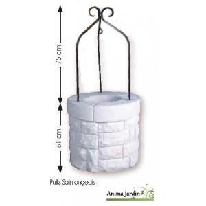puits en pierre reconstitu e blanc puits de jardin saintongeais 70 140 cm achat vente pas cher. Black Bedroom Furniture Sets. Home Design Ideas