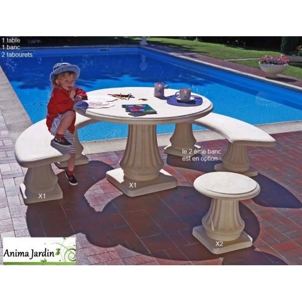 Salon en pierre reconstitu e rond 120cm banc tabourets - Table de jardin en pierre reconstituee ...