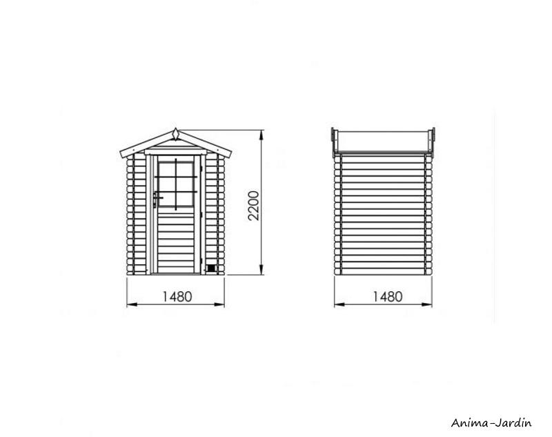 Abri de jardin en bois, Huron 2.2 m², 19 mm, avec toit en feutre bitumeux, rangement, Forest-style, achat, pas cher